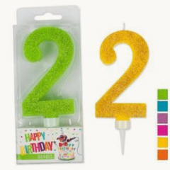 B.F. Zahlenkerze 2 Glitter